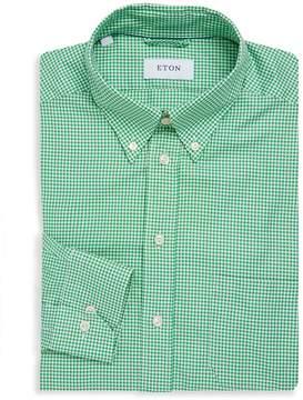 Eton Men's Button-Down Long Sleeves Gingham Dress Shirt