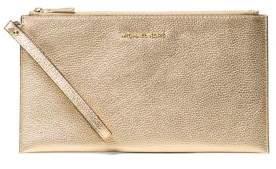 MICHAEL Michael Kors Leather Zip Clutch - GUNMETAL - STYLE