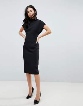 Asos DESIGN Short Sleeve Midi Pencil Dress With Open Back