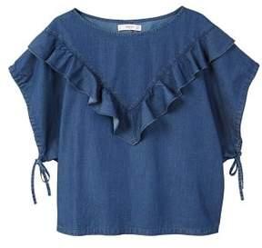 MANGO Frilled denim shirt