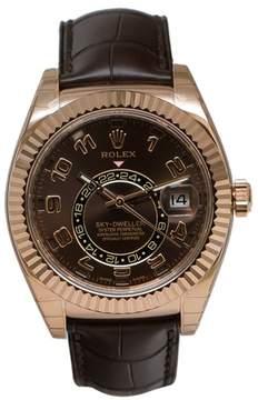Rolex Sky Dweller 326135BRAL Brown Dial GMT 18K Rose Gold Leather Men