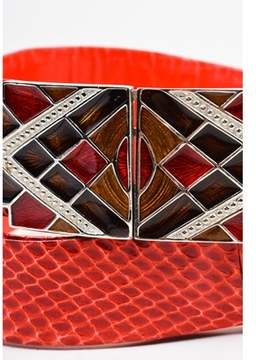 Judith Leiber Pre-owned Red Brown Silver Tone Reptile Leather Enamel Diamond Plate Belt.