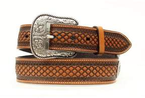 Ariat 32 Inch Western Leather Beaded Basketweave Floral Conchos Mens Belt
