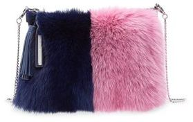 Loeffler Randall Tassel Fox Fur Trimmed Suede Pouch