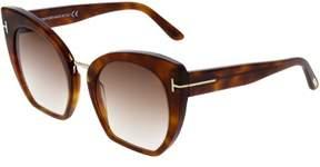Tom Ford Women's Gradient Samantha FT0553-53F-55 Brown Cat Eye Sunglasses