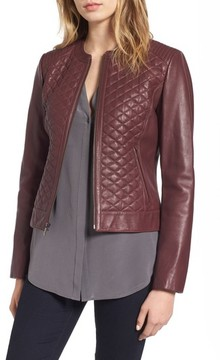 Cole Haan Women's Quilted Leather Moto Jacket