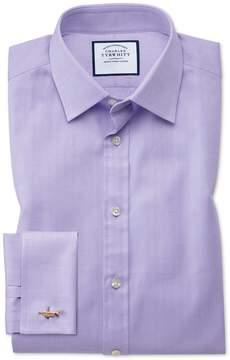 Charles Tyrwhitt Classic Fit Fine Herringbone Lilac Cotton Dress Shirt French Cuff Size 15.5/33