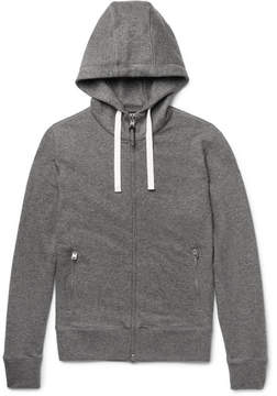 Tom Ford Leather-Trimmed Mélange Cashmere And Cotton-Blend Zip-Up Hoodie