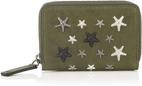 Jimmy Choo MALONE Army Green Leather Zip Around Wallet with Metallic Mix Stars