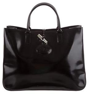 Longchamp Leather Roseau Tote - BLACK - STYLE