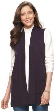 Croft & Barrow Women's Open Front Long Vest