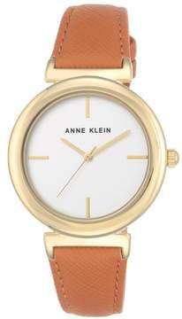 Anne Klein Goldtone Orange Textured Faux Leather Strap Watch