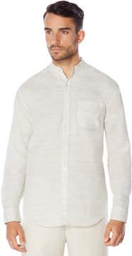 Cubavera Long Sleeve Linen Cotton Yarn Dyed Banded Collar Shirt