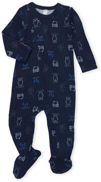 Petit Lem Newborn/Infant Boys) Bear Print Thermal Footie