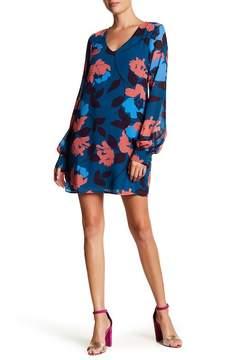 Charles Henry V-Neck Floral Print Shift Dress