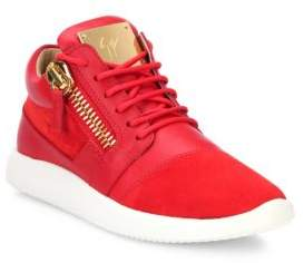 Giuseppe Zanotti Leather& Suede Side-Zip Sneakers
