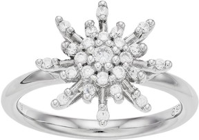 Vera Wang Simply Vera Sterling Silver 1/3 Carat T.W. Diamond Flower Ring