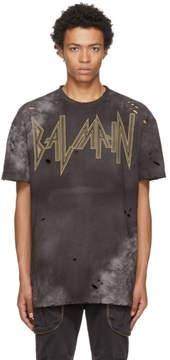 Balmain Black Oversized Destroy Gothic Logo T-Shirt