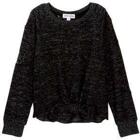 Ten Sixty Sherman Crochet Lace Tie Front Sweater (Big Girls)