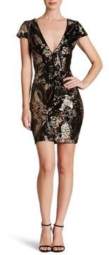 Dress the Population Women's Zoe Plunge Sequin Velvet Body-Con Dress