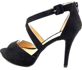 Material Girl Womens Helenah Suede Open Toe Casual Ankle Strap Sandals.