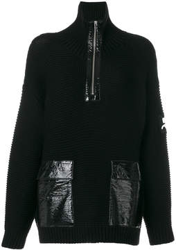 Courreges zipped neck ribbed jumper