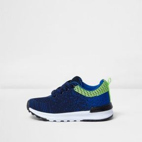 River Island Mini boys navy blue mesh runner sneakers