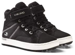 Viking Black Sagene Mid-Top Velcro and Lace-Up Trainers