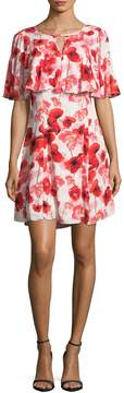 CeCe Women's Floating Poppies Print Flared Dress