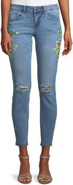 Dex Floral-Print Distressed Skinny Jeans