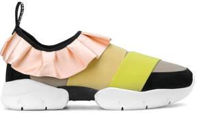 Emilio Pucci frill trim front strap sneakers