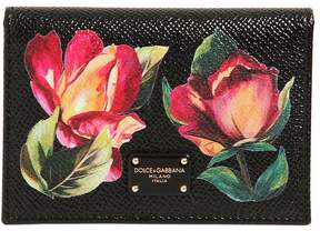 Dolce & Gabbana Floral Embossed Leather Card Holder - BLACK - STYLE