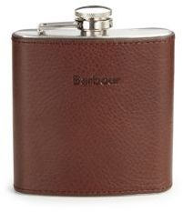 Barbour Stainless Steel Leather Wrapped Flask