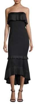 Aidan Mattox Strapless Ruffle Gown