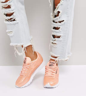 Reebok Classic Patent Pearl Leather Sneakers In Pink