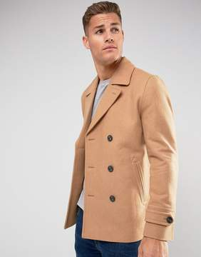 Asos Wool Mix Peacoat In Light Camel