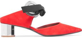 Proenza Schouler Eyelet-embellished Suede Mules - Red