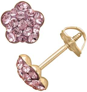 Swarovski Kohl's 14k Gold Light Rose Crystal Flower Stud Earrings - Made with Crystals - Kids