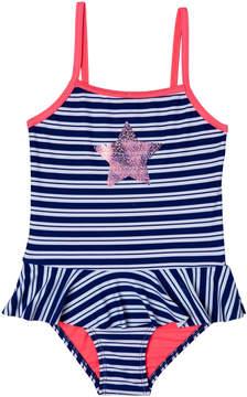 Hula Star Navy Stripe Star Skirted One-Piece - Toddler & Girls