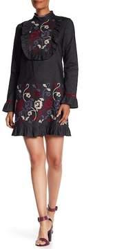 Anna Sui Stitch Embellished Denim Dress