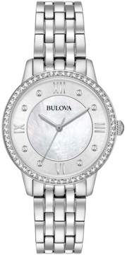 Bulova Watch, Earrings and Heart Pendant with Chain Stainless Steel Set Embellished with Crystals from Swarovski