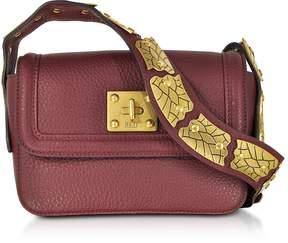RED Valentino Wine Pebble Leather Sin Crossbody Bag