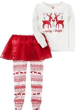 Carter's Girls 4-8 Merry & Bright Reindeer Top & Tutu Leggings Pajama Set