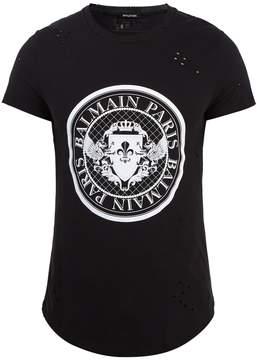 Balmain Circular logo-print distressed cotton T-shirt
