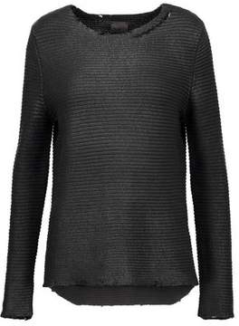 RtA Jules Distressed Coated-Cotton Sweater