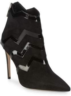 Aperlaï Patent Zigzag Suede Boots