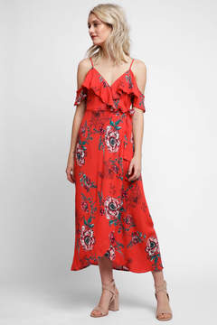 Band of Gypsies Shadow Floral Faux Wrap Dress