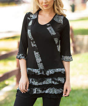 Lily Black & Gray Floral Tiered Tunic - Women