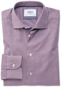 Charles Tyrwhitt Extra Slim Fit Semi-Spread Collar Business Casual Gingham Red and Navy Cotton Dress Shirt Single Cuff Size 16/36