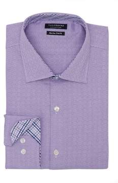Tailorbyrd Textured Houndstooth Trim Fit Dress Shirt